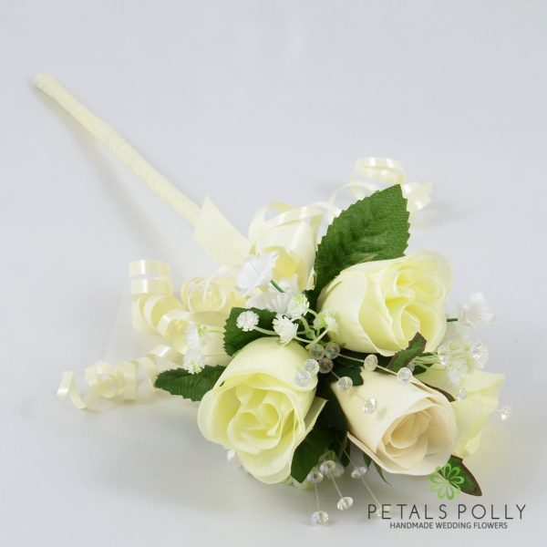Ivory Flower Girl Wand with Crystals