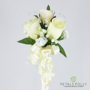 ivory silk rose flower girl wand