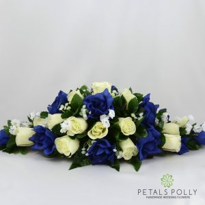 navy blue and ivory silk rose top table decoration arrangement