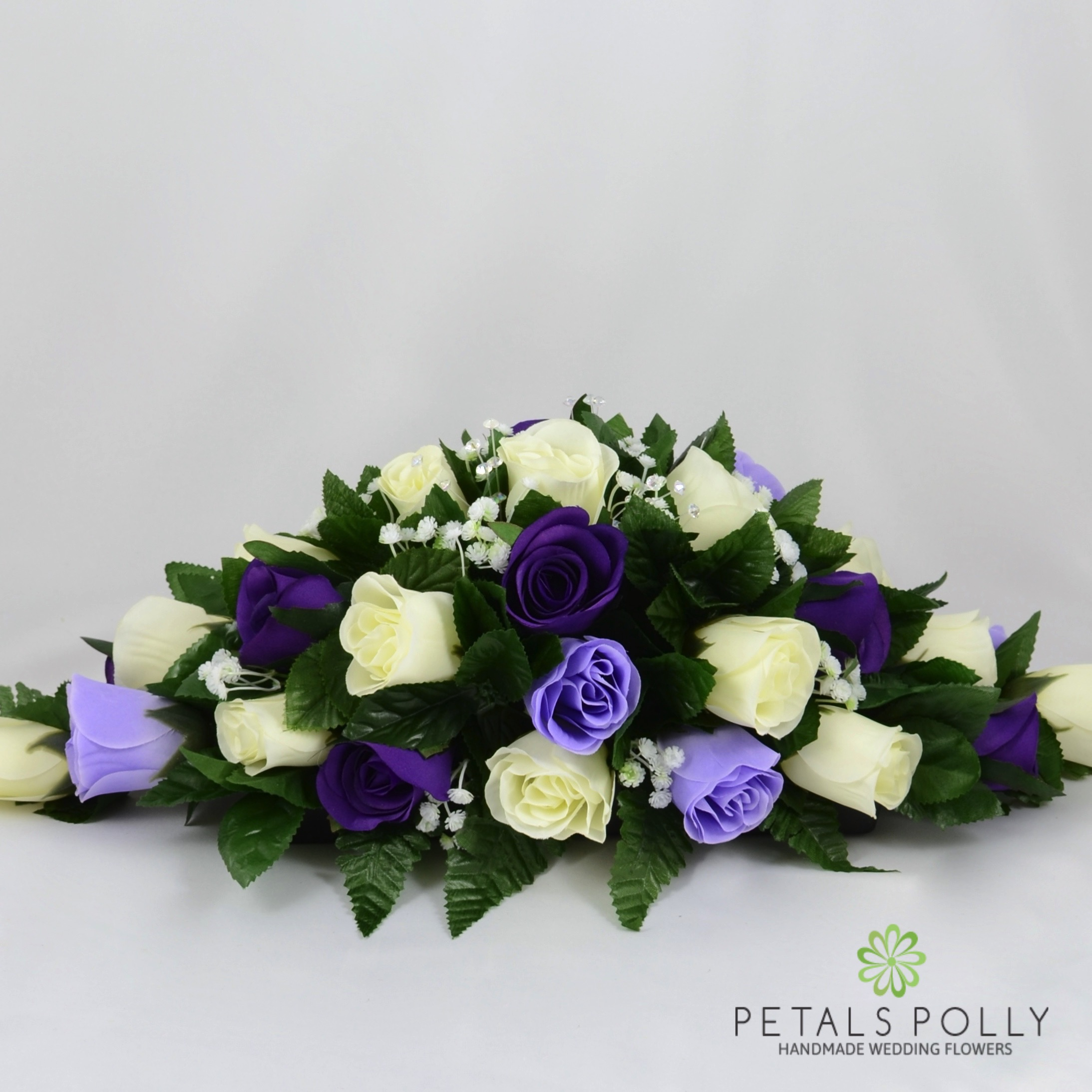 Purple, Lilac & ivory Rose Top Table Decoration