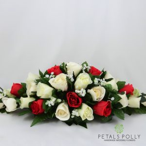 silk red and ivory top table decoration