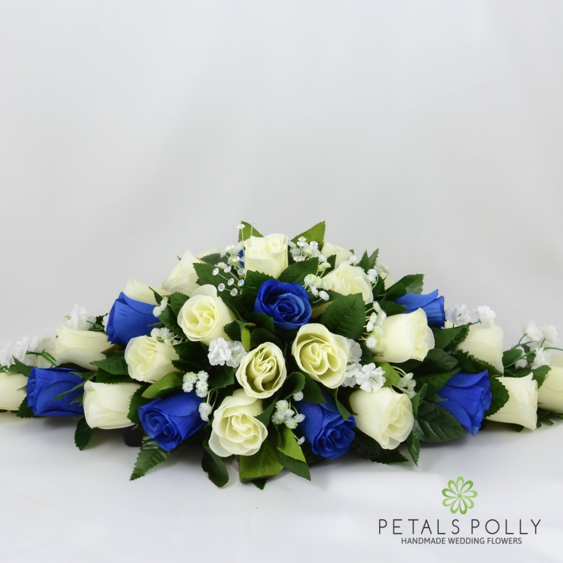 Royal Blue Ivory Rose Top Table Decoration