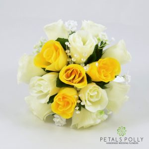 Yellow & Ivory Rose Bridesmaids Posy with Crystal Stems