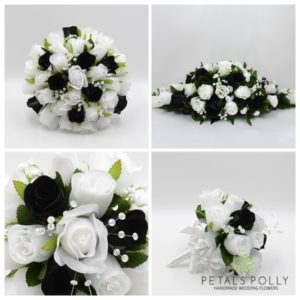 silk black and white wedding flower package