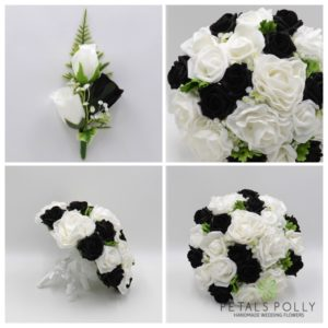 Black and white artificial wedding flower package
