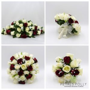 silk burgundy and ivory wedding flower package