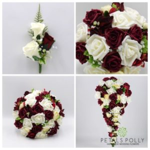 burgundy and ivory artificial wedding flower package