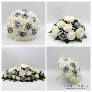 artificial grey ivory wedding flower package