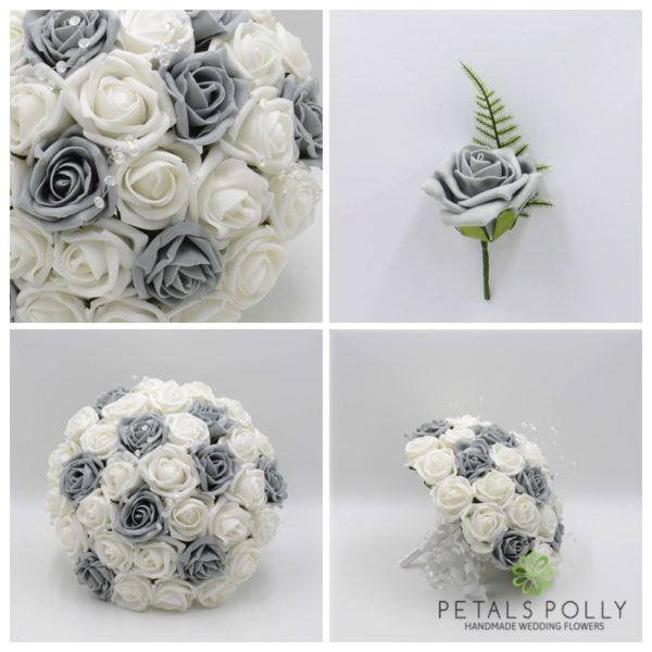 Grey & White Rose Package