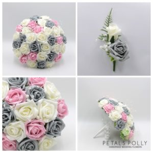 artificial grey pink ivory wedding flower package