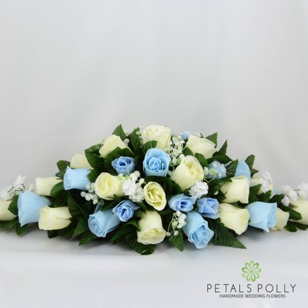 Baby Blue & Ivory Rose Top Table Decoration
