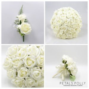 artificial ivory foam rose wedding flower package