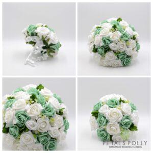 mint green white wedding flowers