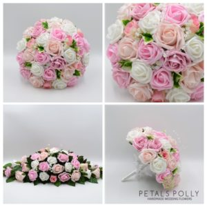 mixed pink and white wedding flower package