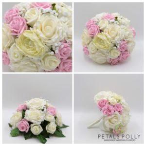 baby pink and ivory artificial wedding flower package
