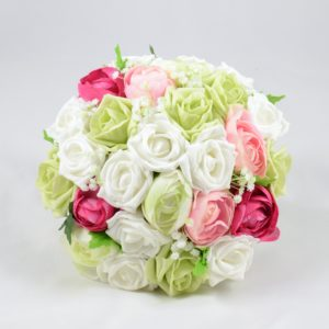 pink, white, pistachio artificial wedding flower package