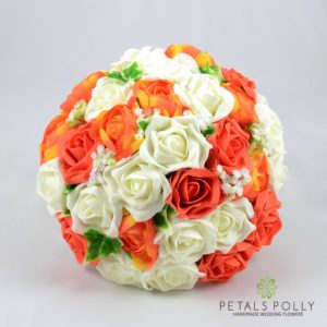 artificial wedding flower package in orange and ivory