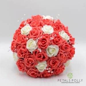 artificial wedding flower package in coral and ivory foam roses