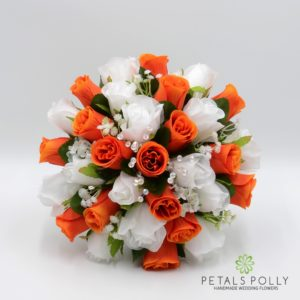 artificial wedding flower package in orange and white roses