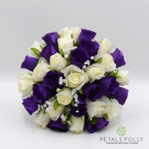 silk purple and ivory rose wedding flower package