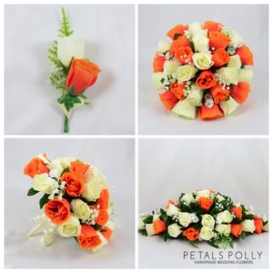 artificial wedding flower package in orange and ivory roses