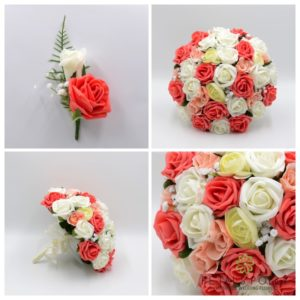 coral, peach and ivory artificial wedding flower package