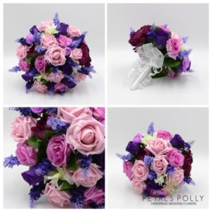 artificial pink purple and lavender rose wedding flower package