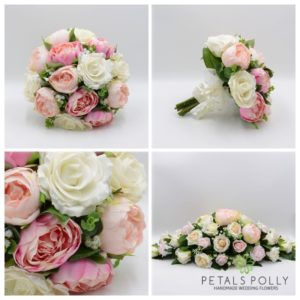 pink, peony, ivory rose artificial wedding flower package