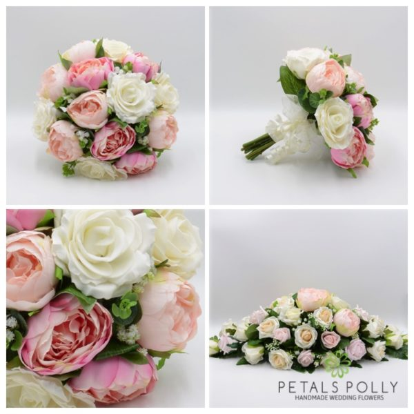 Pastel Pink Peony & Ivory Rose Package