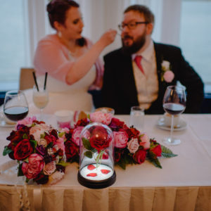 Plum burgundy silk wedding flowers