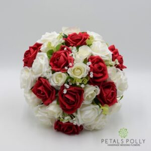red foam rose brides bouquet
