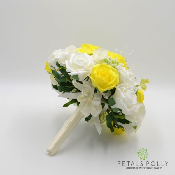 Baby Blue & Ivory Rose Brides Posy with Crystal Stems