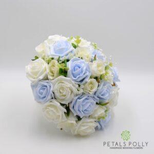 baby blue rose brides bouquet