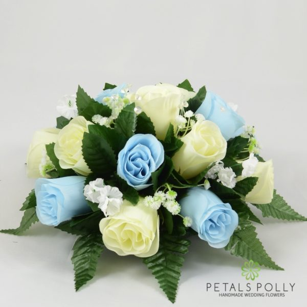 Navy Blue & Ivory Rose Table Centre Decoration