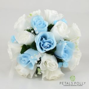 baby blue bridesmaids flowers