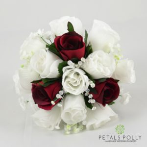 burgundy white bridesmaids flowers