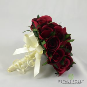 burgundy rose bridesmaids posy