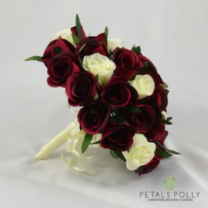 burgundy ivory wedding posy