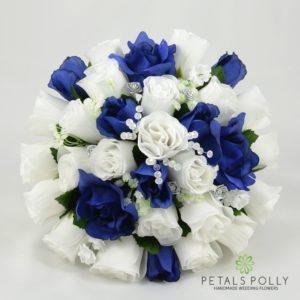 navy blue white brides posy