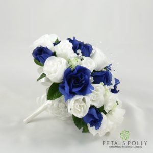 navy blue white brides posy