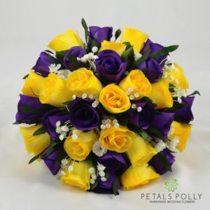 purple yellow silk bouquet