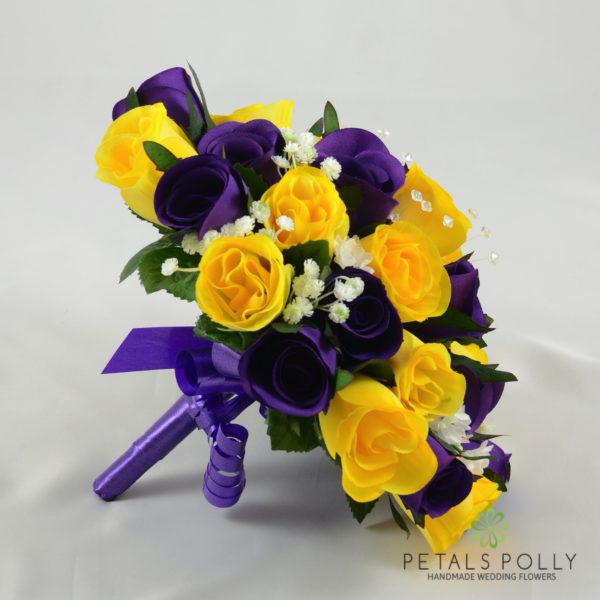 Purple & Yellow Rose Brides Posy with Crystal Stems