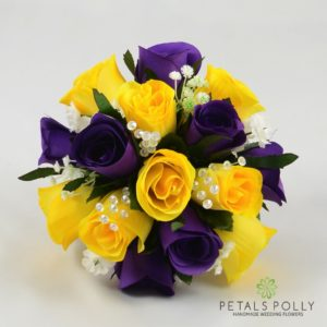 purple yellow wedding flowers