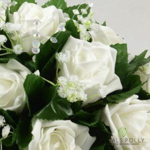 white foam rose table decoration