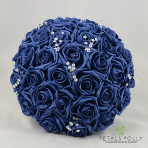 navy blue foam rose bouquet