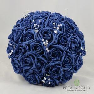 navy blue foam rose bouquet