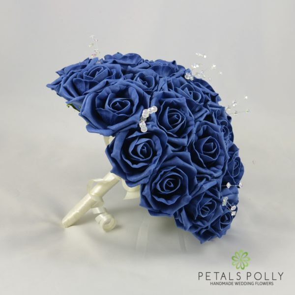 Navy Blue Foam Rose Brides Bouquet Posy