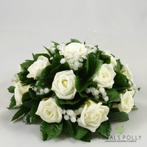 Ivory Foam Rose Table Centre Decoration