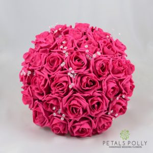 Hot pink foam rose brides bouquet