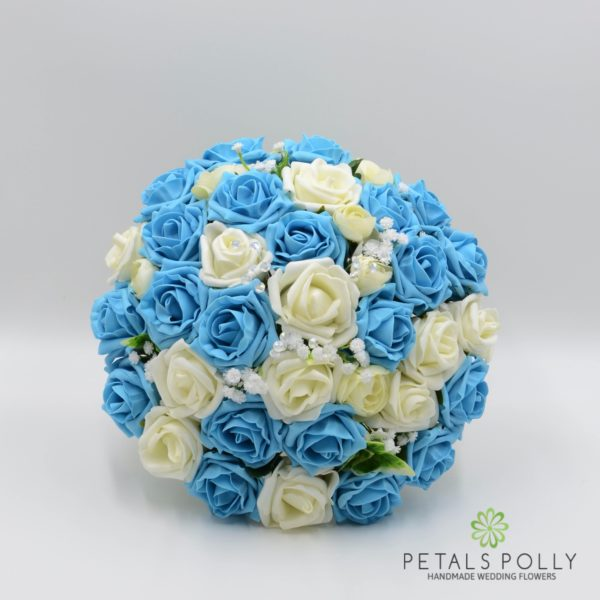 Aqua Blue / Turquoise & Ivory Rose Brides Posy with Ranunculus